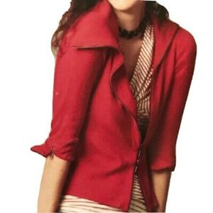 CAbi Red Asymmetrical Ribbed Knit Cardigan Sweater